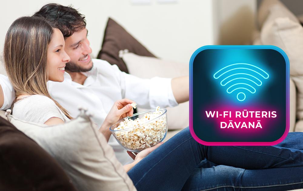 Digitālā televīzija </br>un ātrs internets + </br>dāvanā Wi-Fi rūteris