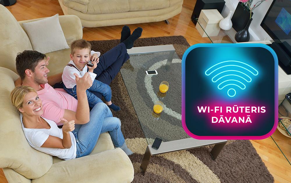 Interaktīvā televīzija </br>un optiskais internets + </br>dāvanā Wi-Fi rūteris